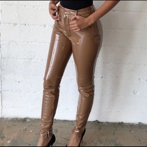 House of cb brown/tan latex pants